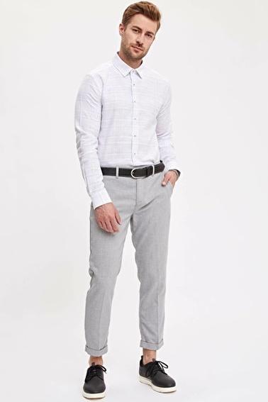 DeFacto Modern Kareli Fit Gömlek Beyaz